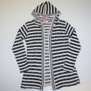 Say What? Girls Hooded Stripe Cardigan size Small